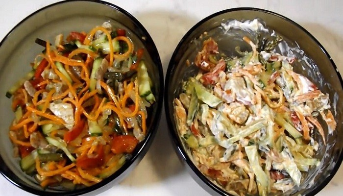 Салат из папоротника с мясом по-корейски